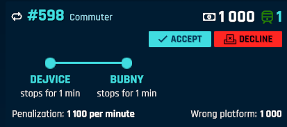 An offered one-way contract – train shall be stabled at Bubny